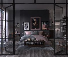 40 Beautiful Bedrooms That We Are In Awe Of Are you planning to update your bedroom decor, or maybe even start a renovation from the ground up? This post is all about inspiration! Grey Bedroom Colors, Dark Gray Bedroom, Grey Bedroom With Pop Of Color, Bedroom Color Schemes, Rose Bedroom, Bedroom Bed, Girls Bedroom, Master Bedroom, Home Decor Bedroom
