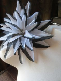 Dahlia Silk Millinery Flower in Black & White for Bridal, Hats, Corsages, Wrists, Bouquet MF69