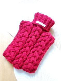 Hand Knitted Cabled Hot Water Bottle Cover (Cosy)