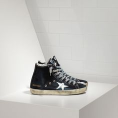 Golden Goose Francy Sneakers In Denim With Leather Star Men - Golden Goose / GGDB