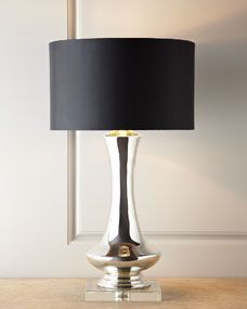 """Genie Glass lamp. Neiman-Marcus Exclusive. Glass with a crystal foot.   Silk shade.   Switch on socket. 17""""Dia. x 31""""T.     100-watt bulb. Orig. Price: $435.00  Special Value: $250.00  30% off: $175.00 plus $27.00 shipping."""