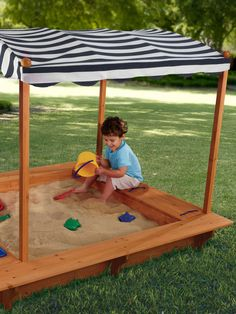 KidKraft - Outdoor Sandbox With Canopy!! Once my grandpa finish building it!