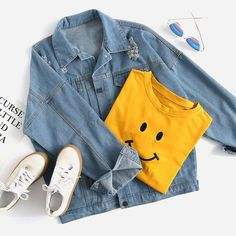 Shop Light Blue Dropped Shoulder Seam Ripped Denim Jacket at ROMWE, discover more fashion styles online. Girls Fashion Clothes, Teen Fashion Outfits, Outfits For Teens, Fall Outfits, Tumblr Outfits, Mode Outfits, Cute Casual Outfits, Pretty Outfits, Traje Casual