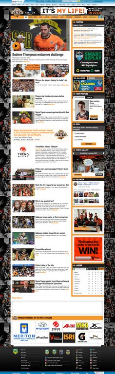 Wests Tigers Wests Tigers, Rugby League, My Life, Web Design, Challenges, Sports, Hs Sports, Design Web, Sport
