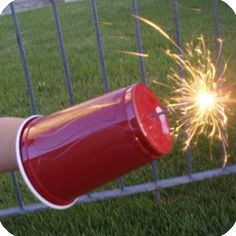 A clever idea to keep the little ones hands safe while holding a sparkler