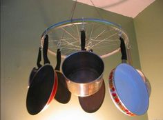 Hanging pots and pans make this cool kitchen design.