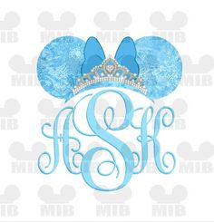 PRINCESS Minnie Monogram Bow FROZEN Digital Image by MiceInBlack, $4.00