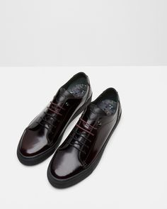 Leather brogue trainers - Oxblood | Footwear | Ted Baker SEU
