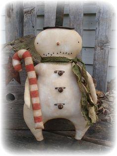 Primitive Winter Christmas Snowman Candy Cane dolls~jillykbee~ in Antiques, Primitives   eBay