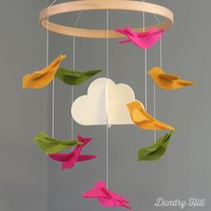 Bird Baby Mobile Green Pink and Yellow Birds Felt by dundryhill