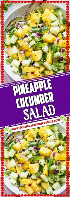 PINEAPPLE CUCUMBER SALAD Via #deliciousrecipescookingcom #healthyrecipes #PINEAPPLE #CUCUMBER #comfortfood #paleo #glutenfree #SALAD Kids Cooking Recipes, Dinner Recipes For Kids, Lunch Recipes, Vegetarian Recipes, Summer Recipes, Healthy Appetizers, Healthy Salads, Healthy Eating, Clean Eating