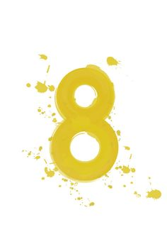 Large Poster / Number 8 / Watercolor Effect Yellow / by dekanimal, $35.00