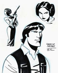 Star Wars warm-up sketches by Bruce Timm