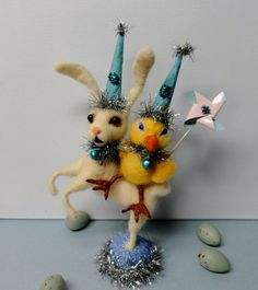 Needle Felted Chick and Hare