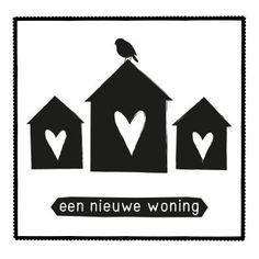 Zwart Wit kaarten - een nieuwe woning kaart (Voorzijde)