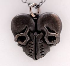 Heart of skulls necklace Made in NYC by billyblue22 on Etsy, $45.00