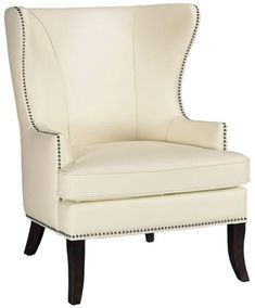 "Grant Wing Back Chair at Home Decorators Collection - in Ivory (comes in brown or black too) - 41.5""H 29.5""W 29""D - $799"