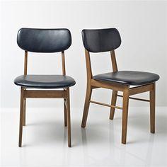 Chaises années 50, bois et cuir (ou skaï ?)  (Lot de 2 chaises Quilda)
