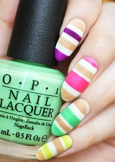 a beautiful and easy mani using OPI - neon collection and samoan sand