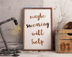 Maybe Swearing Will Help Cubicle Accessories Office Humor Cubicle Accessories, Office Humor, Etsy Handmade, Printable Wall Art, Art Boards, Sarcasm, Canvas Wall Art, Greeting Cards, Framed Prints