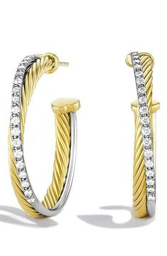 David Yurman 'Crossover' Medium Hoop Earrings with Diamonds in Gold