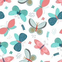 Seamless Pattern with butterflies concept in the white backdrop - Buy this stock vector and explore similar vectors at Adobe Stock Textile Pattern Design, Textile Patterns, Print Patterns, Folk Art Flowers, Flower Art, Wedding Stationery Sets, Animal Print Wallpaper, Graphic Art Prints, Affinity Designer
