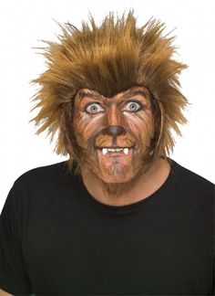 Halloween Werewolf Costume Wig - Get out there with your hairy self and howl at the moon this Halloween in this awesome werewolf wig with sideburns! Let the hair fly this full moon! This amazing werewolf wig looks like fir with straight hair that stands up right out of your head! The layers and layers of hair howls true to a classic hairy Wolfman. #werewolf #yyc #halloween #costume #wig
