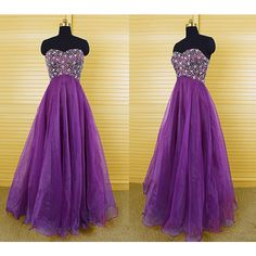 Ball Gown Sweetheart Purple Organza Long Bridesmaid Dress ($119) ❤ liked on Polyvore featuring dresses, black, women's clothing, long black dress, bridesmaid dresses, short prom dresses, long bridesmaid dresses and purple cocktail dress