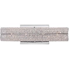 The Evermore vanity fixture sparkles with glamour and glitz, made with a multi-faceted crystal shade. This design is complemented with a polished chrome base and encases four 60-watt bulbs inside.