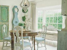 Garden Inspired Dining ... lovely garden statute on dining table. #coachbarn #design #furniture