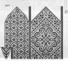 Scissosrs keep; arches pattern could be bargello? Knitted Mittens Pattern, Knit Mittens, Knitted Gloves, Filet Crochet, Crochet Motif, Knit Crochet, Knitting Charts, Knitting Patterns Free, Norwegian Knitting