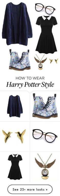 """""""Ravenclaw"""" by ravenflower on Polyvore featuring WithChic and Dr. Martens"""