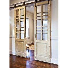 Reclaimed doors hung like barn door! Reclaimed doors hung like barn door! Cedar Hill Farmhouse, Farmhouse Style, Farmhouse Design, Farmhouse Door, Modern Farmhouse, Farmhouse Ideas, Cottage Farmhouse, French Farmhouse, Cottage Style
