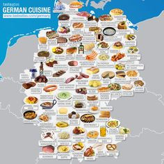 What's the best German food and where to eat in Germany? These are 159 most popular national and local traditional dishes, and 200 best German authentic restaurants. Discover German cousine and gastronomy Usa Food, Best German Food, South American Dishes, European Dishes, History Of Wine, Most Popular Desserts, Food Map, Learn German, Food And Drink