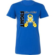 Neuroblastoma Fight Like a Girl Women's Fashion T-Shirts featuring boxing gloves shaped into an awareness ribbon #fightlikeagirl #fightlikeagirlshirts #neuroblastomaawareness