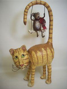 Primitive Paper Mache Folk Art Cat by papiermoonprimitives on Etsy