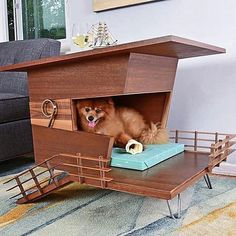 Modern Dog House End Table. Pet Retreat-Four Legged Furniture Modern Dog Houses, Cool Dog Houses, Pet Furniture, Modern Furniture, Mid Century Ranch, Dog Milk, Niches, Dog Insurance, Pets