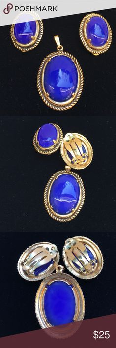 💕Blue Oval Clip on Earrings and Pendant This set is really gorgeous and vintage. Gems are not chipped not cracked. Gems are set in gold like material. Perfect for mothers or give as a gift to your loved ones. Please see pictures for more details. Other Jewelry Earrings