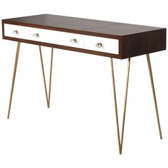 Worlds Away Walnut Veneer and White Lacquer Console Table BRENT