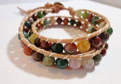 Double Wrap Earth Bracelet Indian agate gemstones on by dzinebug, €40.00