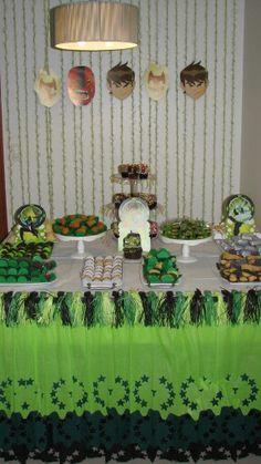 Festa Ben 10 - Ben 10 Party Table Decoration and Backdrop
