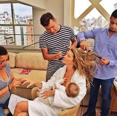 """I chose this one, because even though it's not a """"real"""" selfie, (I can see both her hands) it shows how celebrities are trying to normalize breastfeeding and working life. It's called a """"brelfie,"""" and to me it spoke both to the idea of using selfies for health, and to the idea of what is a selfie if you don't take it yourself but you do post it to instagram?    Gisele breastfeeding glam squad mom"""