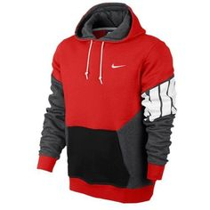 Nike Club Colorblock Pull Over Hoody - Men s - Challenge Red Charcoal  Heather Black White - discount mens dress shoes on sale 4a5a3b6ca
