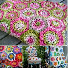 Hexagonal Flower Crochet Tutorial ༺✿Teresa Restegui http://www.pinterest.com/teretegui/✿༻