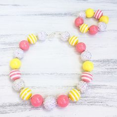Yellow and Pink Coral Bubblegum Necklace and Matching Bracelet From Kiley's Korner Boutique https://www.etsy.com/listing/281373306/yellow-and-pink-coral-bubblegum-necklace