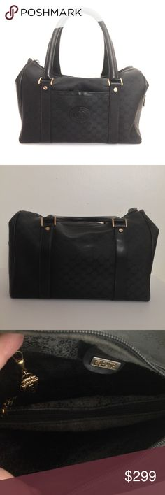"""Classic Vintage [Gucci] Black Canvas/Leather GG 👜 Classic Vintage Gucci Black Coated Canvas and Leather Monogram Satchel, Gently Used * One main compartment w/ zippered closure * Interior features 2 compartments separated by a zippered closure.  Back zip compartment. * Front open pocket * 4 gold tone feet * Interior lining is fading and flaking. * Exterior has tear on one side. * Dust bag included.  All measurements are approx. - see Size.  Handle drop ~ 5 3/4.""""  🚫Trades ✅Ask ?s prior to…"""