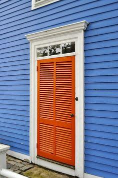 Blue with Orange Door