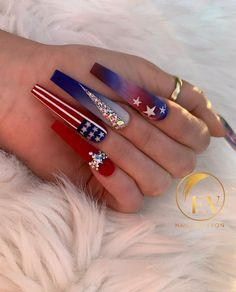 4th Of July Nails, July 4th, Seasonal Nails, Holiday Nail Art, Without Makeup, Beauty Skin, Acrylic Nails, My Nails, Photo And Video