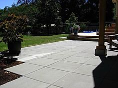 Architecture Square Patio With Pavers Ideas Backyard Intended For Concrete Decor 3 Plank Tile Flooring Custom Mosaic Glass Base Lamps Wide Hardwood Floors Closet Doors Ikea Concrete Patios, Cement Patio, Pavers Patio, Poured Concrete, Backyard Patio, Backyard Landscaping, Landscaping Ideas, Backyard Play, Large Pavers