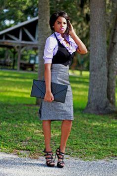 Menswear inspiredL lavendar ruffled blouse, high waist pencil skirt, black vest